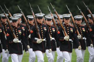 Defense.gov_News_Photo_100615-M-1549W-221_-_U.S._Marines_from_Marine_Barracks_Washington_march_by_during_the_pass_and_review_portion_of_the_Sunset_Parade_at_the_Marine_Corps_War_Memorial_in